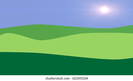 Nature background with green hills and blue sky. Flat design illustration.