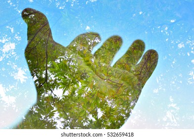 Nature background multiple exposure, hand and tree, Planet Earth concept