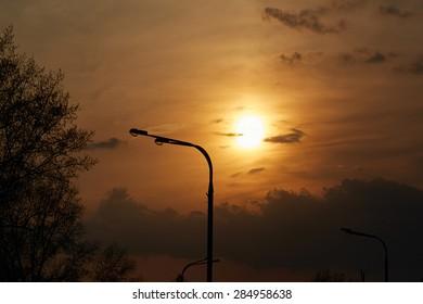 Nature background. Sunset