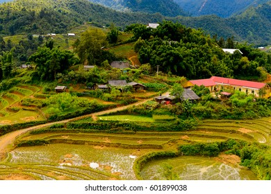 Nature and beautiful mountain view of the village of Catcat, Vietnam
