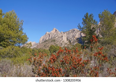 Nature with beautiful mountains next to Caves of Canelobre at Busot Costa Blanca in Spain