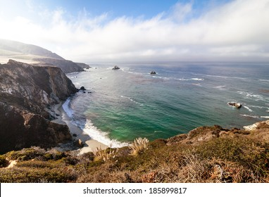 Nature of Big Sur at highway one along the Pacific ocean coastline