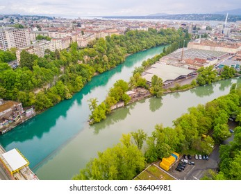 Nature, Bird Eye View of Junction of Rivers Arve and Rhone in Geneva, Horizontal View