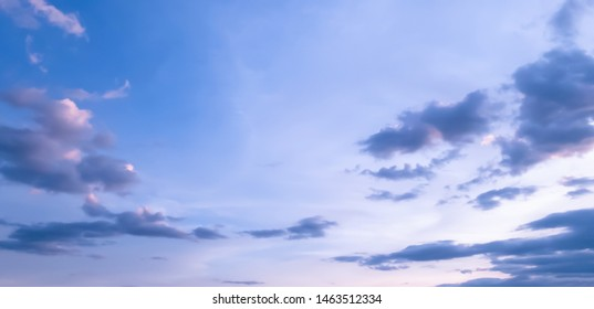 Nature of blue sky with clound and sunset light  in the day background