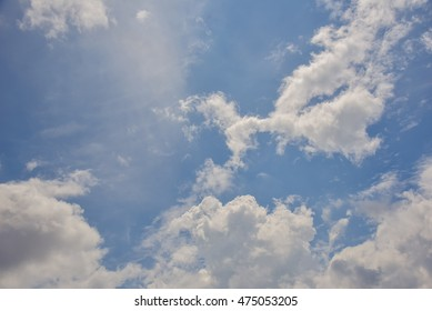 Nature blue sky with fluffy clouds