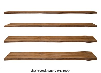 nature broen wooden shelf or table top in four step view can be used for display or montage your products.Mock up for display of product. Isolate on white background with clipping path.