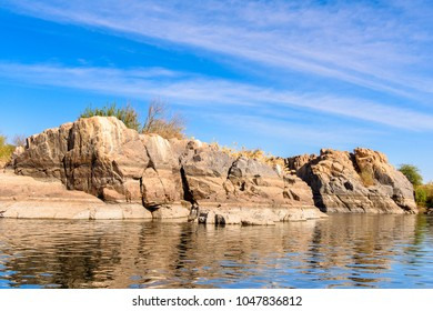 Nature of the Coastline of the Nile river called First Cataract, Aswan, Egyptt