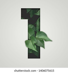 Nature concept. Creative number with green leaves on a gray background. Creative typography, Chapter in the presentation, template. 1 number one.