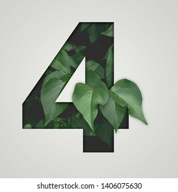 Nature concept. Creative number with green leaves on a gray background. Creative typography, Chapter in the presentation, template. 4 number four.