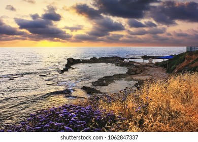 nature conservation park Achziv, national park of Israel, view of the picturesque bay at sunset