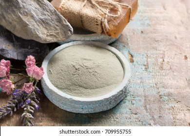 Nature cosmetics, handmade preparation with essential oils and ancient minerals of creams, soaps, skincare masks, scrubs from fresh and dried lavender and roses flowers, green clay powder