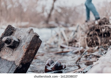 Nature, ecology, climate, danger, water, wood, metal, steel, problem, pain for the planet,recycling, wallpapers, material, sezon, winter, global warming,  - Shutterstock ID 1612038037