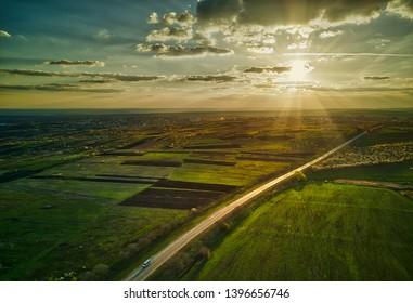 Nature. Flight over the highway