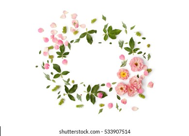 Nature floral round frame on white background, top view. Ornament with rose flowers, petals, succulent plants and green leaves. Flat lay.