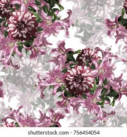 Nature flowers and leaves seamless pattern background .Realistic photo collage - clip art. Layer effect . Lily and dahlia . Vintage style - Shutterstock ID 756454054