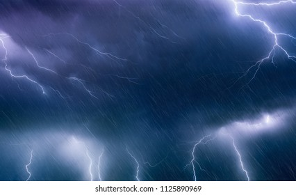 Nature force background - powerful lightnings and rain in dark stormy sky, weather forecast concept, climate change background