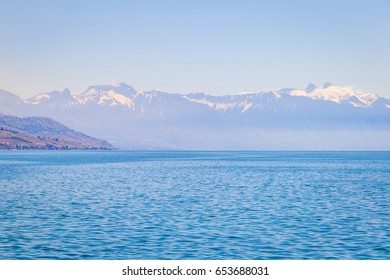Nature, Geneva Lake and Alps, Blue Wallpaper