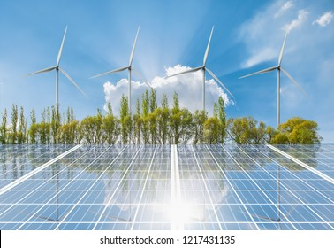 Nature green landscape with bright cloudy sky - Wind turbines farm on green field landscape - Solar Panel (Photovoltaic) with cloudy sky reflection