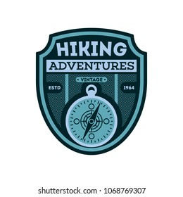 Nature hiking vintage isolated badge. Outdoor expedition symbol, mountain and forest explorer, touristic extreme trip label illustration
