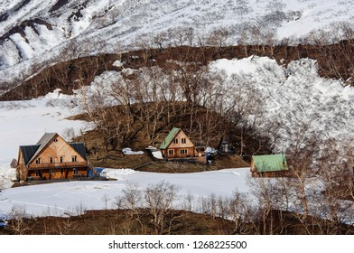 Nature of Kamchatka. Landscapes and magnificent views of the Kamchatka Peninsula. The nature of Kamchatka, a burnt volcano, an area near a volcano.