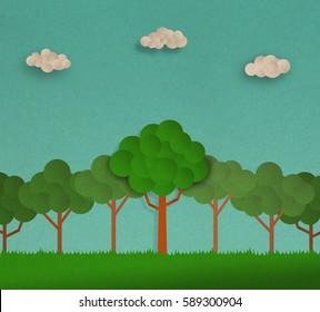 nature landscape  , forrest scene , illustration