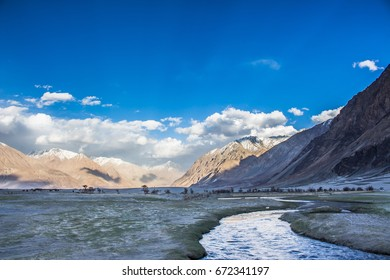 The nature landscape of mountains and river in Nubra Valley, Leh Ladakh.