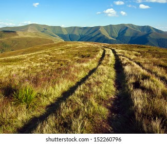 Nature landscape, road to the distant mountains