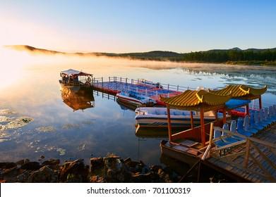 Nature landscape scenery view of azalea lake during sunrise