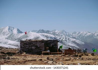Nature landscape view of snow capped mountain range. Babusar pass, Khyber Pakhtunkhwa, Pakistan.