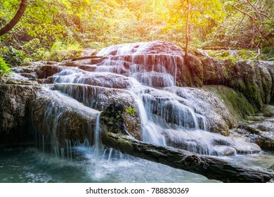 Nature landscape of waterfall cascade in Thailand, Erawan waterfall