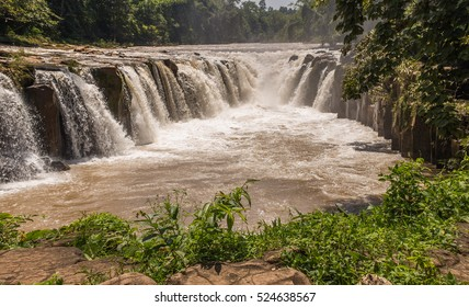 Nature landscape of waterfall in Laos.waterfall in mountain forest under great sky.Adventures and travel concept.Scenic landscape.beautiful place.wild nature.