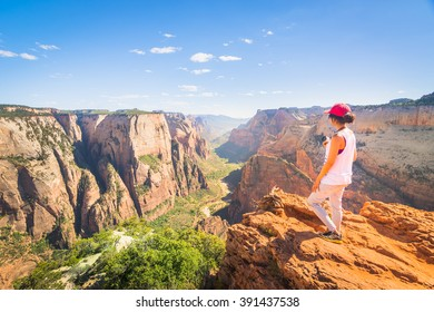 Nature landscape of Zion National Park, USA.  This nature landscape is taken at Observation Point in Zion National Park.  This nature landscape is also taken during the day.
