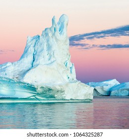 Nature and landscapes of polar zones of our planet.Travel on the scientific vessel among ices. Studying of a phenomenon of global warming. Ices and icebergs of unusual forms and colors