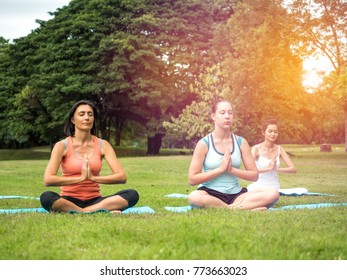 Nature for life, woman group doing meditation pose/meditation at outdoor green park.