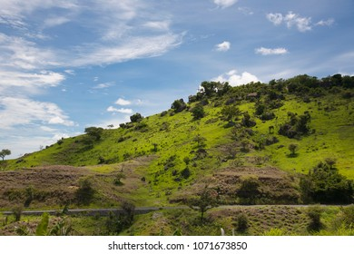 The nature in Madagascar, landscape, mountains, hills, blue sky.