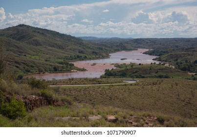 The nature in Madagascar, landscape, mountains, hills, river, blue sky.
