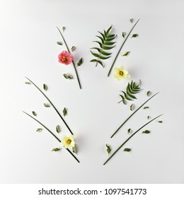 Nature Minimal Concept - Creative layout made of green leaves and flowers with copy space. Flat Lay