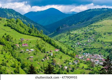 Nature in the mountains, beautiful scenery, beautiful mountain scenery, the Carpathian Mountains, a village in the mountains.