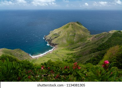 Nature on volcano island of Saba in the Caribbean. This small island is known for its incredible coral reefs and scenic views from the top of its peaks. Smallest special municipality of Netherlands.
