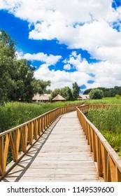 Nature park Kopacki rit in Slavonia, Croatia, popular tourist destination and birds reservation. Long wooden path. Countryside landscape.