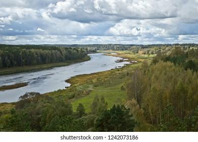 """Nature Park """"Daugavas Loki"""" in Latvia, autumn landscape in Latgale"""
