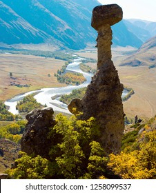 Nature phenomenon and nature miracle Stone Mushrooms rocks in Altai mountains and river Chulyshman, Russia