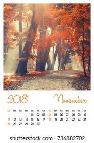 Nature photo calendar with beautiful minimalist landscape 2018. November