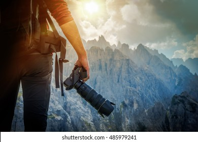 Nature Photography Concept. Professional Nature Photographer and the Mountain Vista.