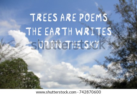 Nature Quotes Trees Poems Earth Writes Stock Photo Edit Now