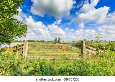 Nature reserve Willeskop, Groene Hart, Oudewater, province of Utrecht, Netherlands, July 21, 2017: Entrance gate with information sign about entering nature reserve Willeskop