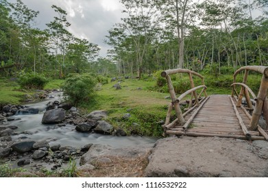 Nature river and bamboo bridge, long exposure shot, Kaliurang, Yogyakarta, Indonesia. June 2018