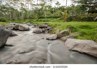 Nature river, long exposure shot, Kaliurang, Yogyakarta, Indonesia. June 2018