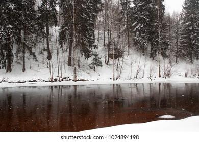 Nature river park mountain snow