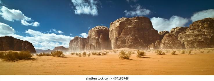 Nature and rocks of Wadi Rum (Valley of the Moon), Jordan. UNESCO World Heritage